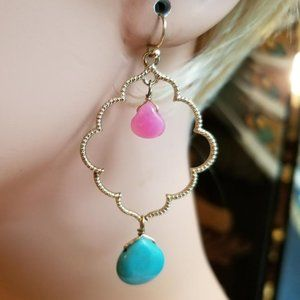 Gold Diamond Shaped Blue Pink Bead Hoop Earrings